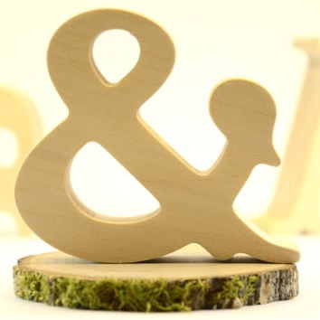 Wood Ampersand for rustic wedding decors, free standing wood sign for home decors and nursery, wooden letters, woodland