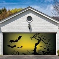 Garage Door Halloween Decorations Cover Decor Bats Tree Night Sky Bat 3d Billboard Outside Decoration for Garage Door Halloween