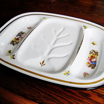 Georges Briard Metal Enamelware Meat Fish Serving Tray Platter Fruit And Floral Pattern Can Be Uses For Appetizers Cookies Cheeses Breakfast