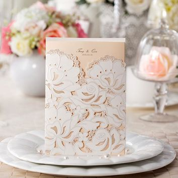 10pcs lot Luxury White Lace Wedding Invitations Greeting Card Holiday Birthday Party Prom Paper Blank Insert Decoration