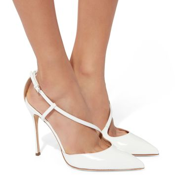 Godiva Patent Leather White Pumps