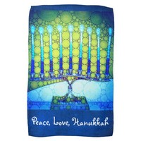 """Peace, Love, Hanukkah"" Blue & Green Menorah Photo Hand Towel"