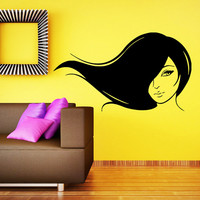 Makeup Wall Decal Vinyl Sticker Decals Home Decor Mural Make Up Girl Eyes Woman Fashion Cosmetic Hairdressing Hair Beauty Salon Decor SV6041