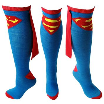 Superman Knee High Socks With Capes