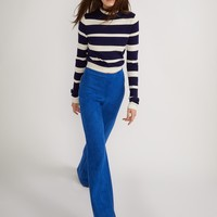 Bright Blue Stretch Suede Pant