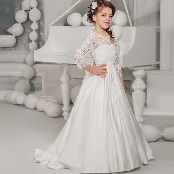 3/4 Sleeve First Communion Dress For Girls Cheap 2017 White Lace Flower Girls Dress With Bow Knot Floor Length Satin Kids Wear