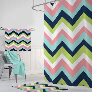 Chevron SHOWER CURTAIN, Kid Child Shared Bathroom Decor, Boy Girl MONOGRAM Personalized Chevron Bathroom Decor Chevron Bath Towel Bath Mat