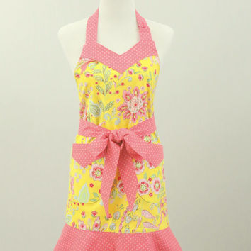 Women's Apron, Sweetheart Neck, Flounce Bottom, Yellow, Pink Flowered Print, Coral & White Polka Dots, Fully Lined, 100% Premium Cotton