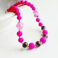 Hot Pink & Black Swirl Princess Necklace