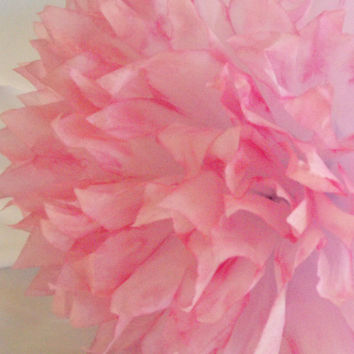 Rose Pink & White Pom / Pink Wedding Decoration /  Baby Girl Nursery /  Hand dyed / Birthday / Party Decoration / Baby Shower