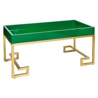 Worlds Away Conrad Greek Key Green Tray Table