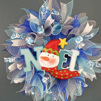 Christmas Blue Turquoise and Silver Deco Mesh Wreath with Noel Snowman Sign