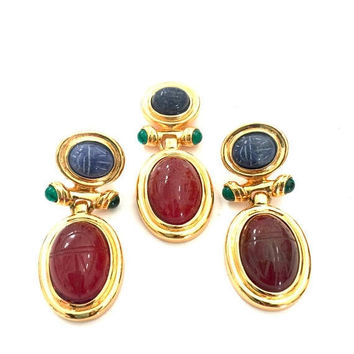 Egyptian Revival Demi Parure, Pendant & Earring Set, Sodalite and Carnelian Scarabs, Green Glass Accents, Polished Gold Tone, Vintage Set