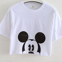 EAST KNITTING Summer  Hot Sale  White  28 Number Print  Crop Tops Summer Girls T-shirts   Tees