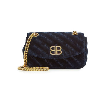 Chain Velvet Shoulder Bag - Balenciaga | WOMEN | KR STYLEBOP.COM