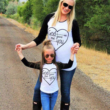 2016 Spring Autumn Mom daughter Son Family Look Best Friend Long Sleeve heart Print t-shirt Top Tees Family Matching Outfits