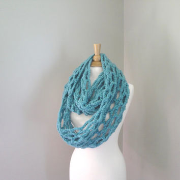 Chunky Infinity Scarf, Loopy, Aqua Green, Crochet Eternity Scarf, Extra Long Cowl, Super Chunky, Circle Tube Scarf, Warm Winter Fashion