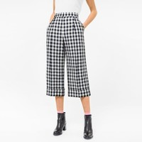 Women's Relaxed-Fit Black And White Gingham Cropped Culottes