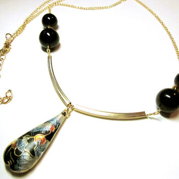 NECKLACE JEWELRY Tear Drop Oriental Necklace Pendant Oriental Style Gold Blue And Black Round Black Beads Small Gold And Tube Beads Gift