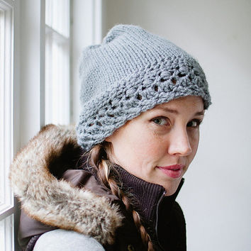 Lacy Cloche Beanie Slouchy Snow Knit Hat with Crochet Brim in Acrylic Silver Gray