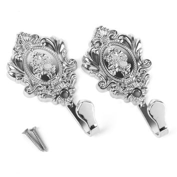 New Rose Pattern Vintage Alloy Drapery Curtain Holdbacks Tieback Hooks 2Pcs (Silver)