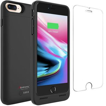 ICIK4S2 iPhone 8 Plus Battery Case with Qi Wireless Charging, Alpatronix BX190plus 5.5-inch 5000mAh Slim Rechargeable Protective Portable Charger Case for iPhone 8 Plus [Apple Certified Chip; iOS 11+] - Black