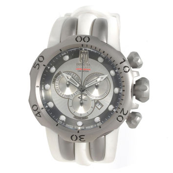 Invicta 14414 Mens Jason Taylor Venom Chronograph Silver Dial White Rubber Strap Dive Watch