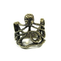 Octopus Ring Size 6 Sea Monster Squid Kraken Steampunk Antique Gold Tone RE34 Fashion Jewelry