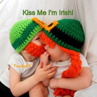 2 Leprechaun Hats Saint Patricks Day photography props Kiss Me i'm Irish Bearded Beanie