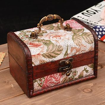 Vintage Sundries Wooden Box Retro Flower Pattern Wood jewelry Desktop Box Handle Storage case Wooden boxes Gift Bins