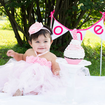 Gorgeous Beautiful Light Pink Yellow or Lavender Flower Tutu Dress for Baby Girl 6-12 Months First Birthday