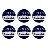 Harold Hello My Name Is Plastic Resin Button Set of 6