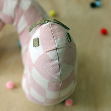 checkered wormy worm - block printed caterpillar with bendy body