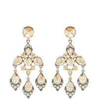 Oscar de la Renta Crystal Chandelier Earrings Cry Gold Shadow
