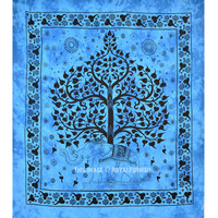 Blue Large Indian Elephant Tree Tapestry Wall Hanging, Cotton Bedding on RoyalFurnish.com