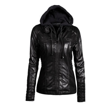 Women's Faux Leather Hooded Jacket Zippered Short Slim Motorcycle Jacket Women Coat Outerwear Blusas SM6