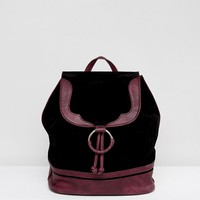 Glamorous Faux Suede Backpack With Burgundy Trim at asos.com