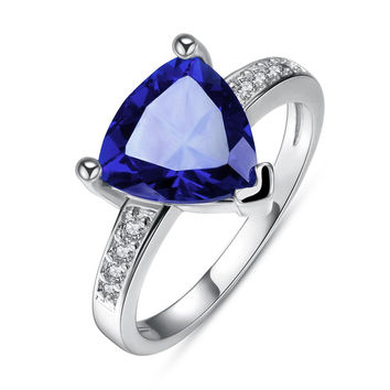 White Gold Plated Triangular Sapphire Classic Ring