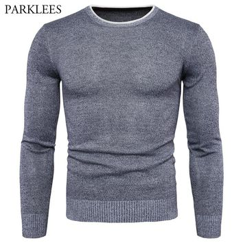 Crochet Pullover Sweater Men 2017 Autumn Winter Pullover Men Long Sleeve Slim Fit Mens Knitted Sweaters Casual Sueter Hombre 2XL