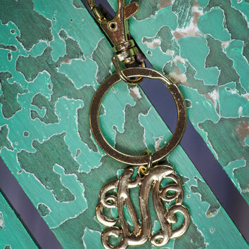 Initial M Keychain in Gold