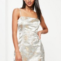 Missguided - Cream Silky Brocade Square Neck Bodycon Dress