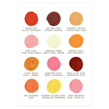 Birthday Cakes Color Palette Card