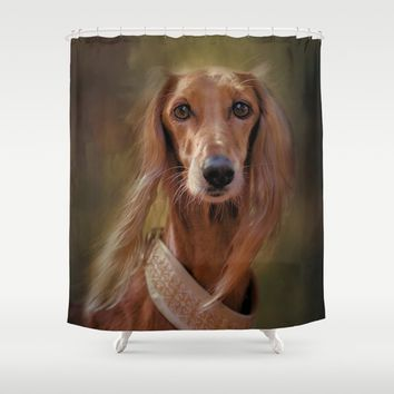 Saluki Portrait Of The Ancient Hound Shower Curtain by Theresa Campbell D'August Art