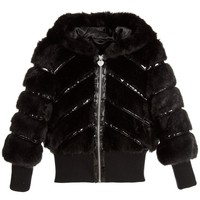 Girls Fancy Black Faux-Fur Hooded Jacket