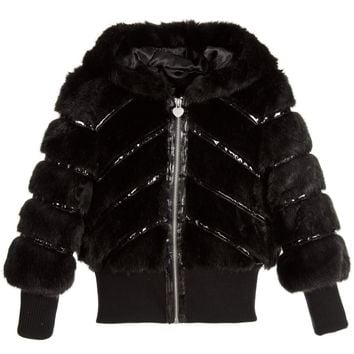 Armani Junior Girls Fancy Black Faux-Fur Hooded Jacket
