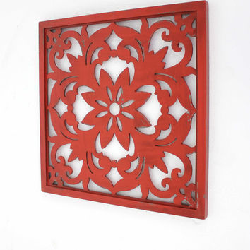 Vintage Red Floral Wall Plaque