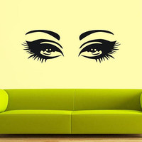 Eyes wall decal, Hair Style Salon wall decal, make up stickers, Girl Fashion All eyes wall stickers, beautiful eyes wall decal/i32