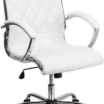 Mid-Back Designer White Leather Executive Office Chair with Chrome Base