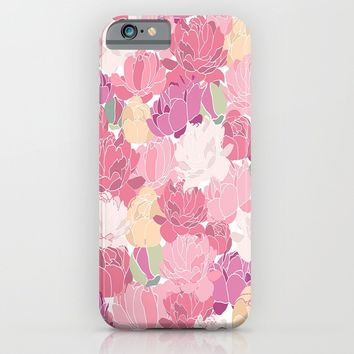 Vintage Rose Peony Flowers Pattern iPhone & iPod Case by Smyrna