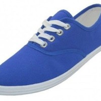 Shoes 18 Womens Canvas Shoes Lace up Sneakers 18 Colors Available (5 B(M) US, Royal 324)